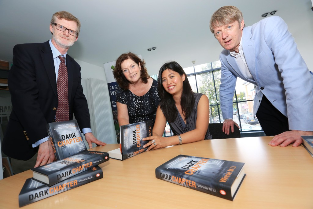 Culturlann, Winnie M Li in conversation with Glenn Patterson about her new book Dark Chapter. pictured: Winnie M Li with Glenn Patterson, Councillor Geraldine McAteer and Daniel Lawton (US Consul General) 0408JC17